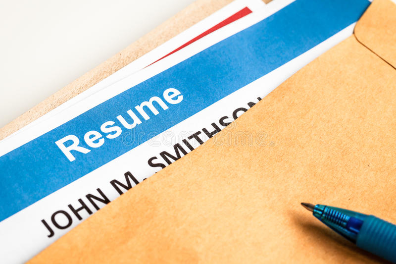 Resume letter background in brown envelop and pen. Can use as recruitment business concept stock images