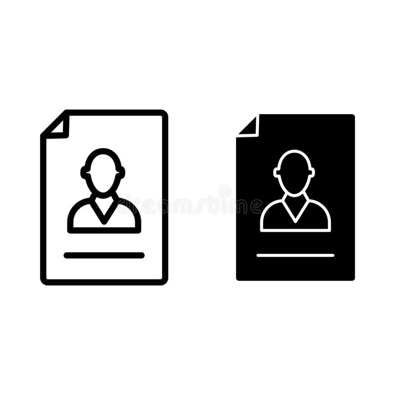 Resume line and glyph icon. Vacancy document vector illustration isolated on white. Employment outline style design. Designed for web and app. Eps 10 stock illustration