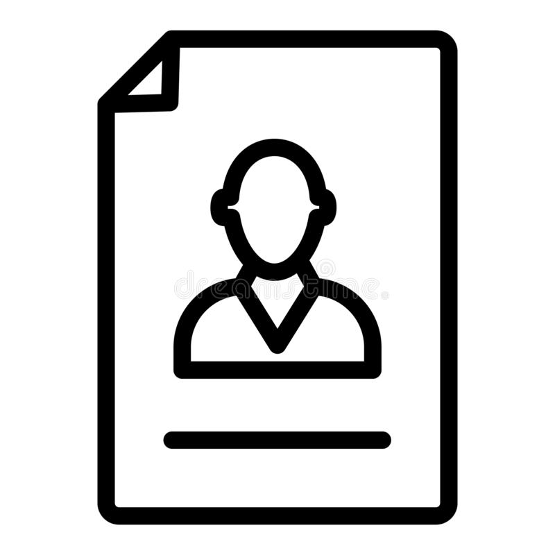 Resume line icon. Vacancy document vector illustration isolated on white. Employment outline style design, designed for. Web and app. Eps 10 stock illustration