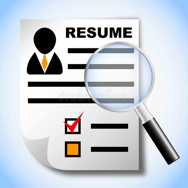 resume and magnifying glass royalty free stock photography