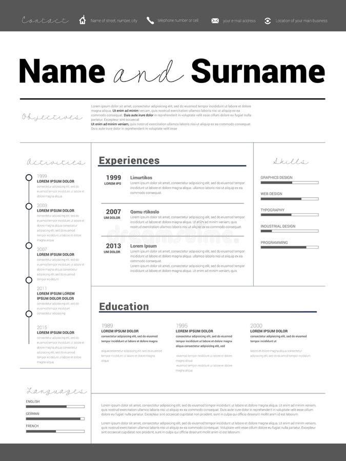 resume    cv template design stock vector