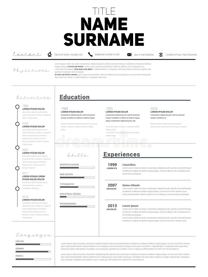 Download Resume Minimalist CV, Resume Template With Simple Design, Compan  Stock Illustration   Illustration  Personal Resume Template