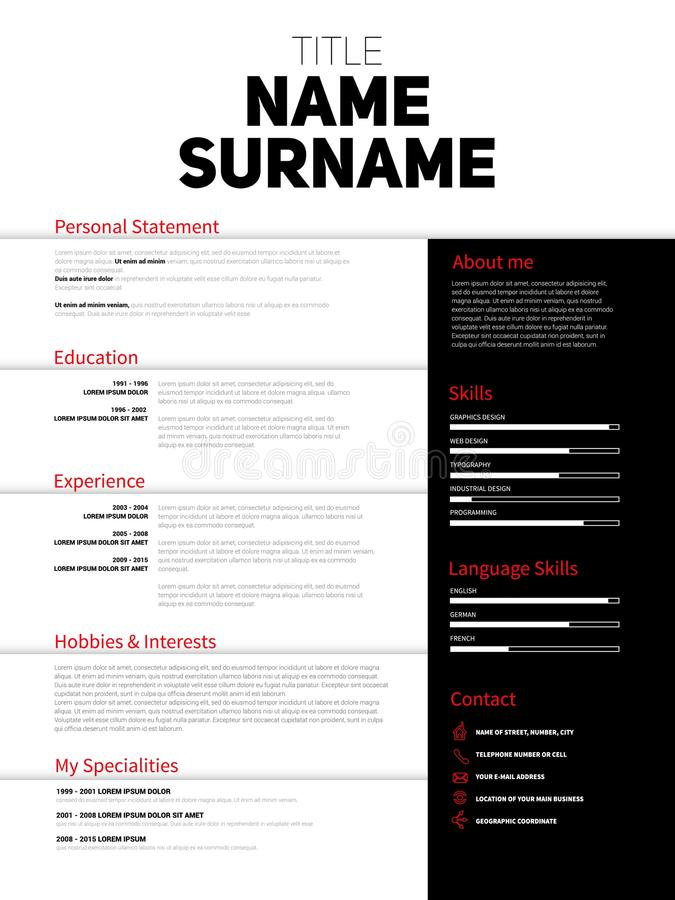 Resume Minimalist CV, Resume template with simple design, company application CV, Curriculum vitae, resume business sheet, clean. Employer resume royalty free illustration