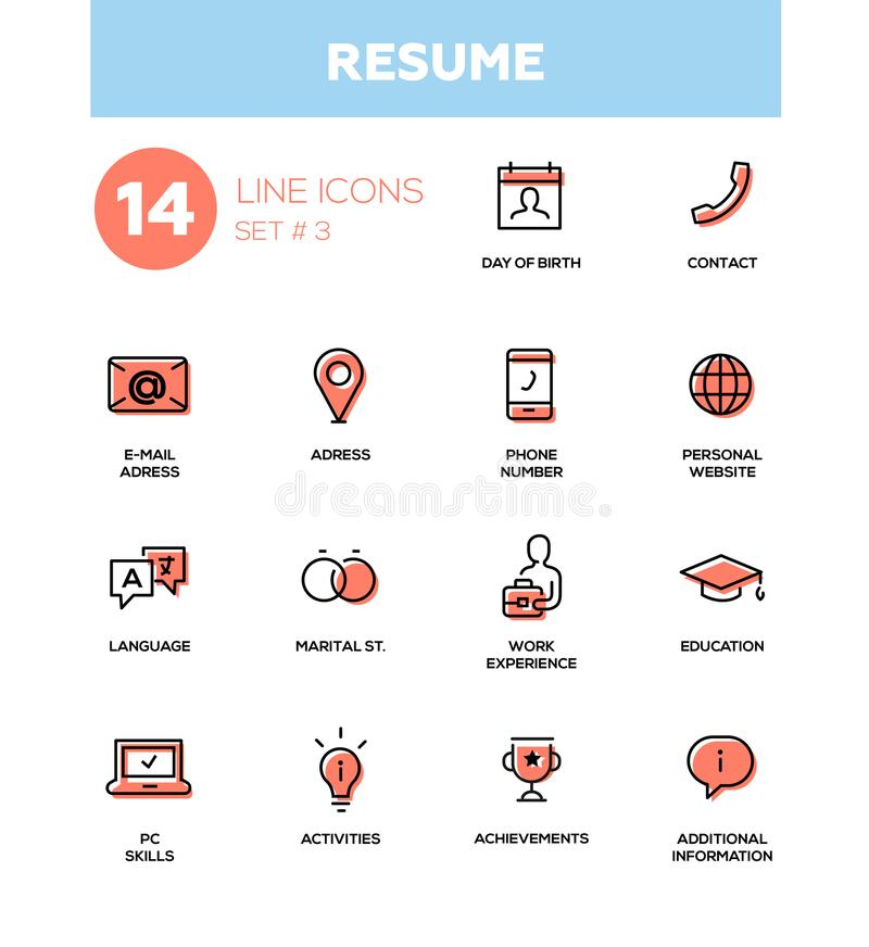 Resume - modern simple thin line design icons, pictograms set royalty free illustration