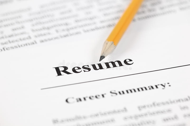 Resume stock photo Image of pensil unemployment word 45350692