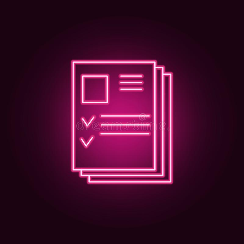 Resume pile icon. Elements of interview in neon style icons. Simple icon for websites, web design, mobile app, info graphics. On dark gradient background royalty free illustration