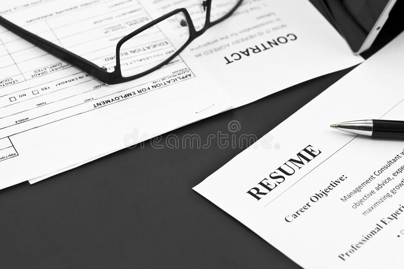 Resume on the Table royalty free stock images