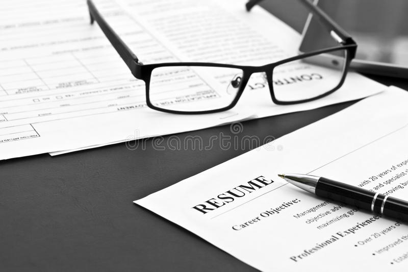 Resume on the Table stock photos