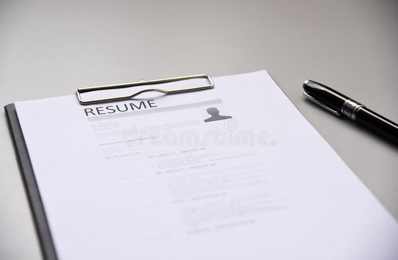 Resume on table Office Business royalty free stock photo