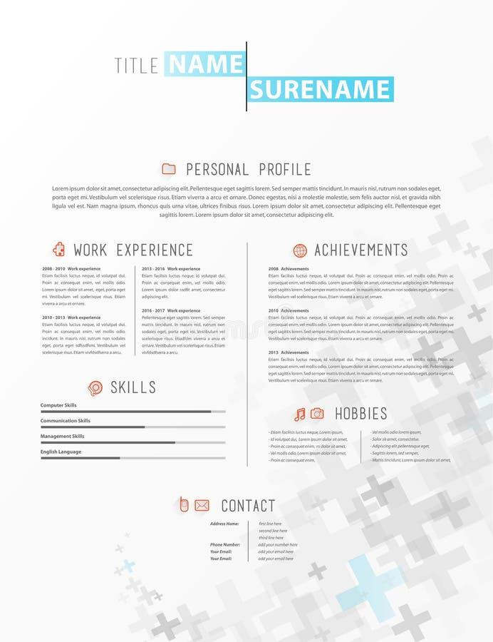 Resume template stock vector. Illustration of skills - 92650962