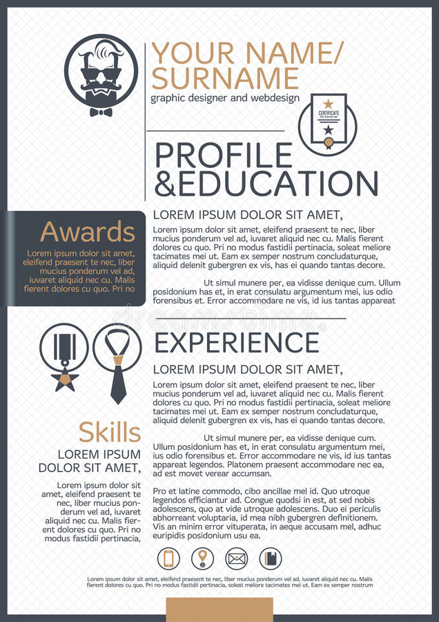 The Resume template. Business icon and background royalty free illustration