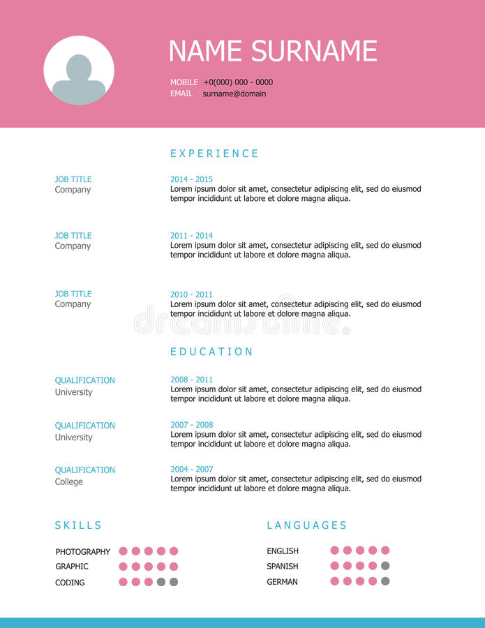 Resume Template Design With Pink Headings Stock Vector ...