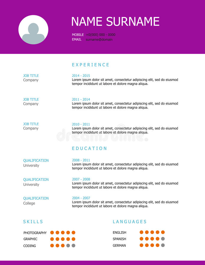 Resume Template Design With Purple Headings Stock Vector ...