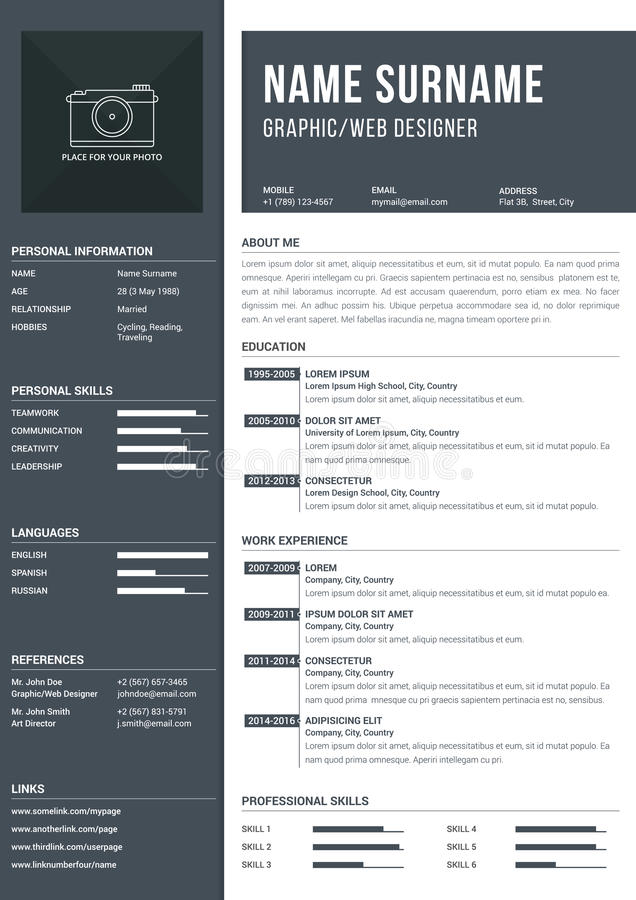 Resume Template. Modern a4 one page resume template with timelines for education and work experience vector illustration