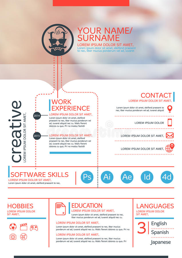 Resume template. Vector resume template. CV, Brochure layout,magazine royalty free illustration