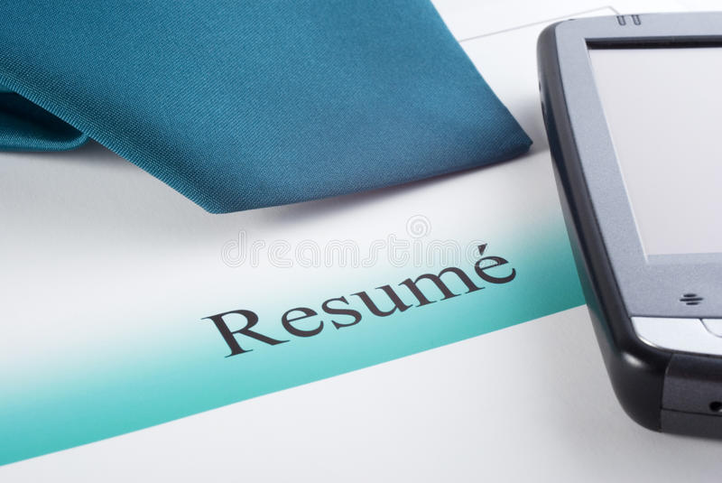 Download Resume Tie and PDA stock photo. Image of personal, business - 25087144