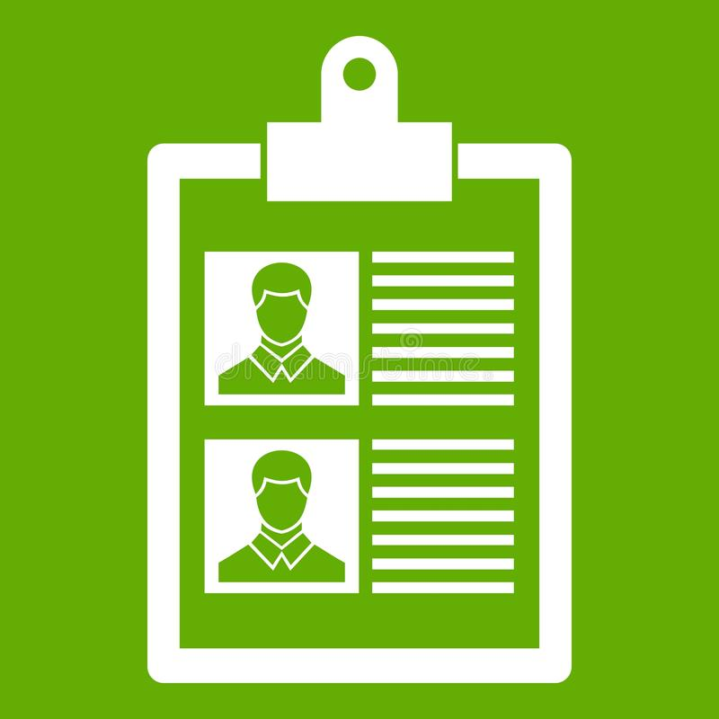 Resume of two candidates icon green royalty free illustration