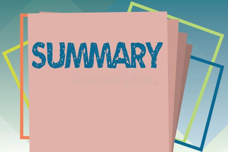 Resumen del texto de la escritura Concepto que significa la versión abreviada sucinta de la sinopsis del extracto de la declaraci stock de ilustración