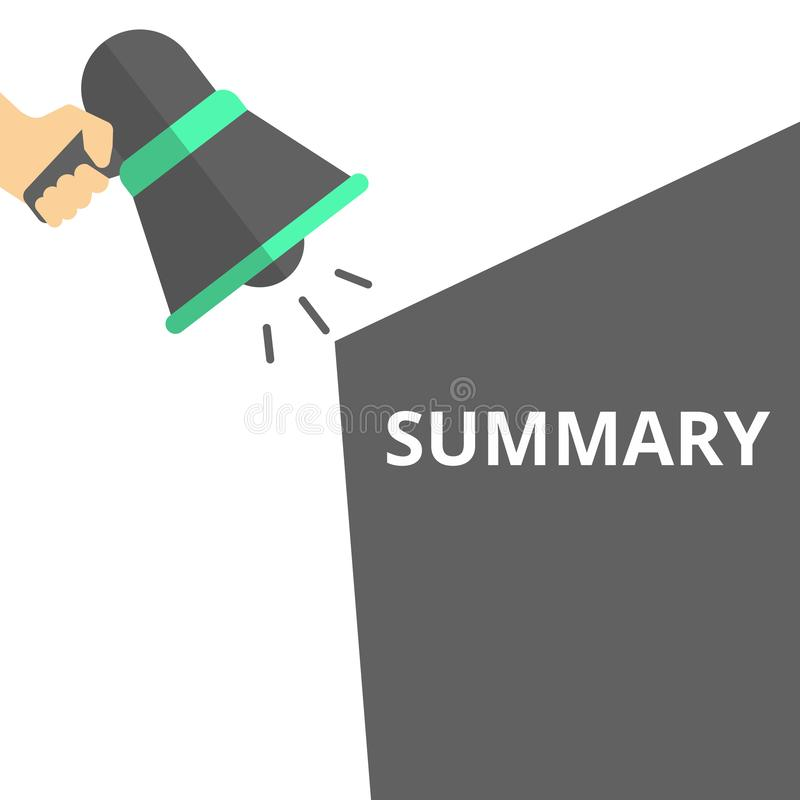 Resumen del texto de la escritura de la palabra stock de ilustración