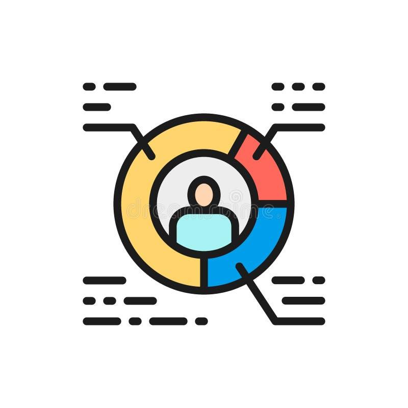 Resumo do vetor, diagrama circular com pessoa, linha de cor lisa ícone do perfil do trabalhador ilustração royalty free