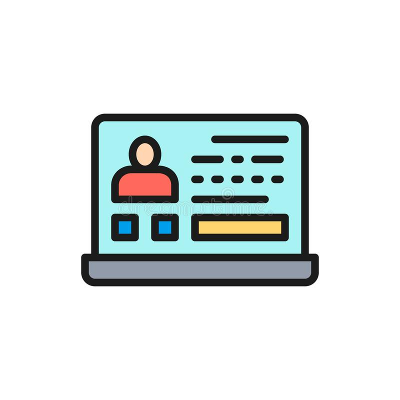 Resumo do vetor, emprego on-line, linha de cor lisa ícone do perfil do empregado ilustração do vetor