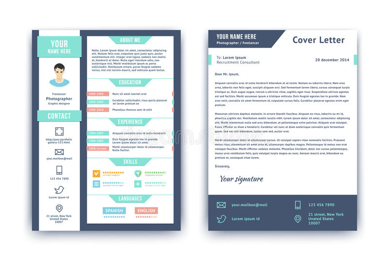 Resumo e molde da carta de apresentação ilustração stock
