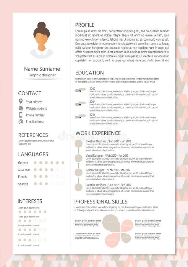 Resumo feminino com projeto infographic CV à moda ajustado para o wome ilustração royalty free