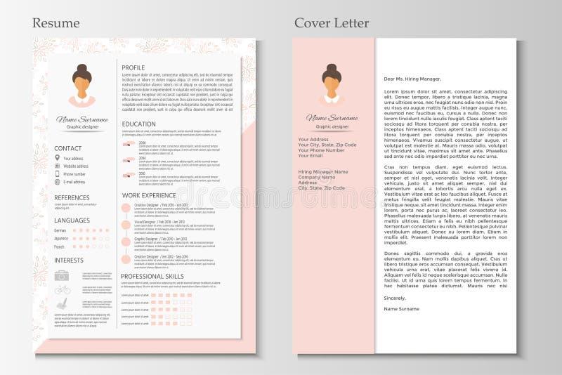 Resumo feminino e carta de apresentação com projeto infographic ilustração stock