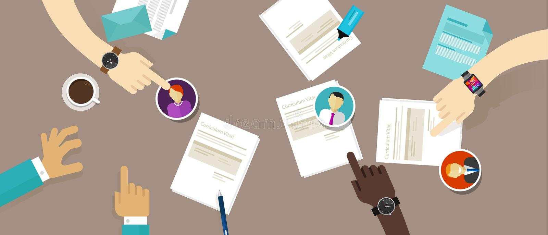 Resumo seleto do cv no processo do recrutamento do empregado da mesa ilustração do vetor