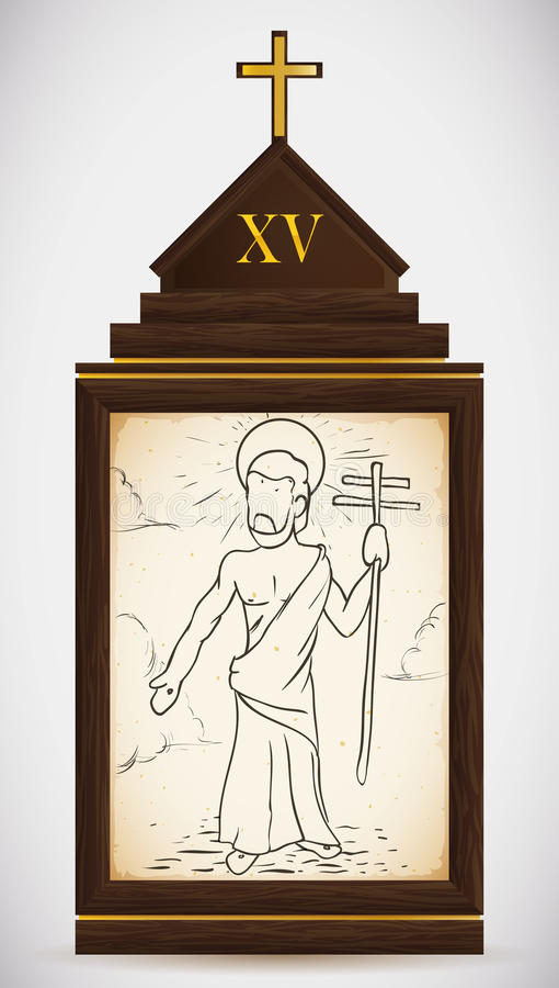 Resurrección de Jesús, ejemplo del vector stock de ilustración