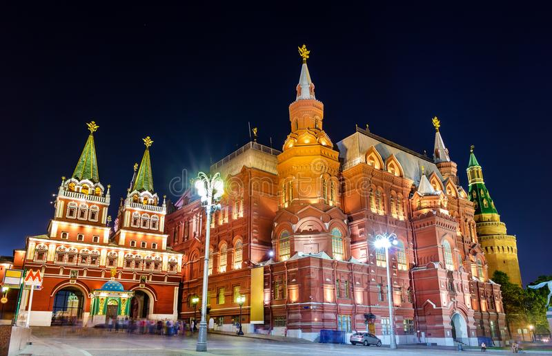 Resurrección o puerta ibérica y el museo histórico del estado en Moscú, Rusia fotografía de archivo libre de regalías