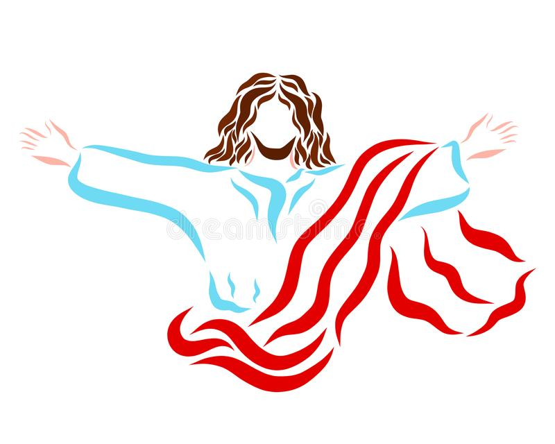 Resurrected or ascending to Heaven, the blessed Lord Jesus.  stock illustration