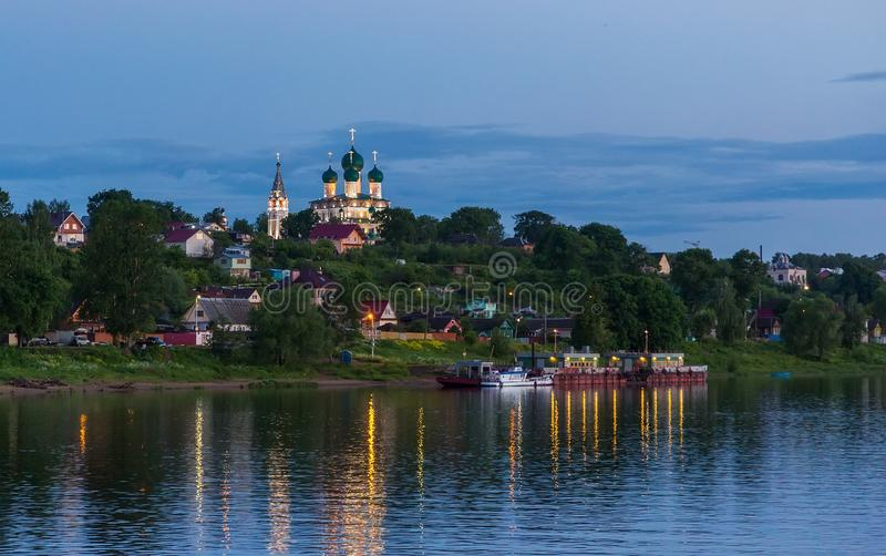 Resurrection Cathedral on high bank of Volga River in the city of Tutayev stock photos