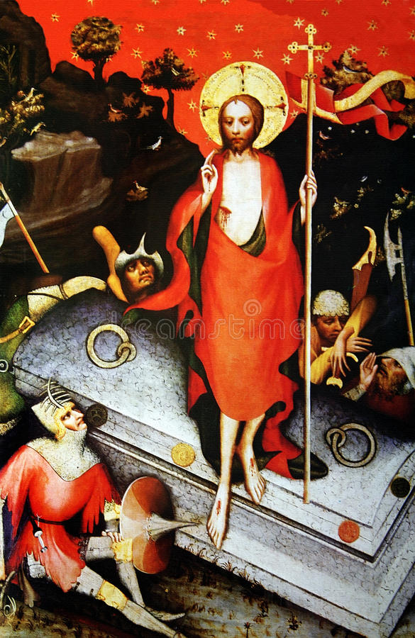Resurrection of Christ. Reproduction of medieval painting Resurrection of Christ. Autor unknown stock image