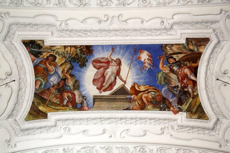 Resurrection of Christ. Beautiful religious fresco in Benediktbeuern, Germany royalty free stock photos
