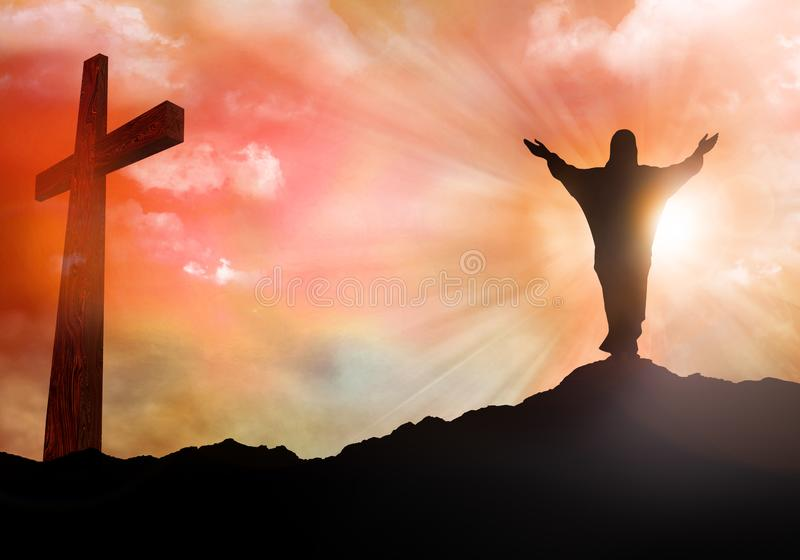 Resurrection. Jesus Christ silhouette. Christian Easter concept. Sunset with rays of light. 3d illustration royalty free stock images