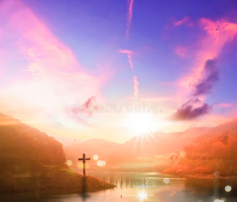 Resurrection concept:Crucifixion Of Jesus Christ Cross At Sunset. Christian concept background:Eucharist Therapy Bless God Helping Repent Catholic Easter Lent stock photography