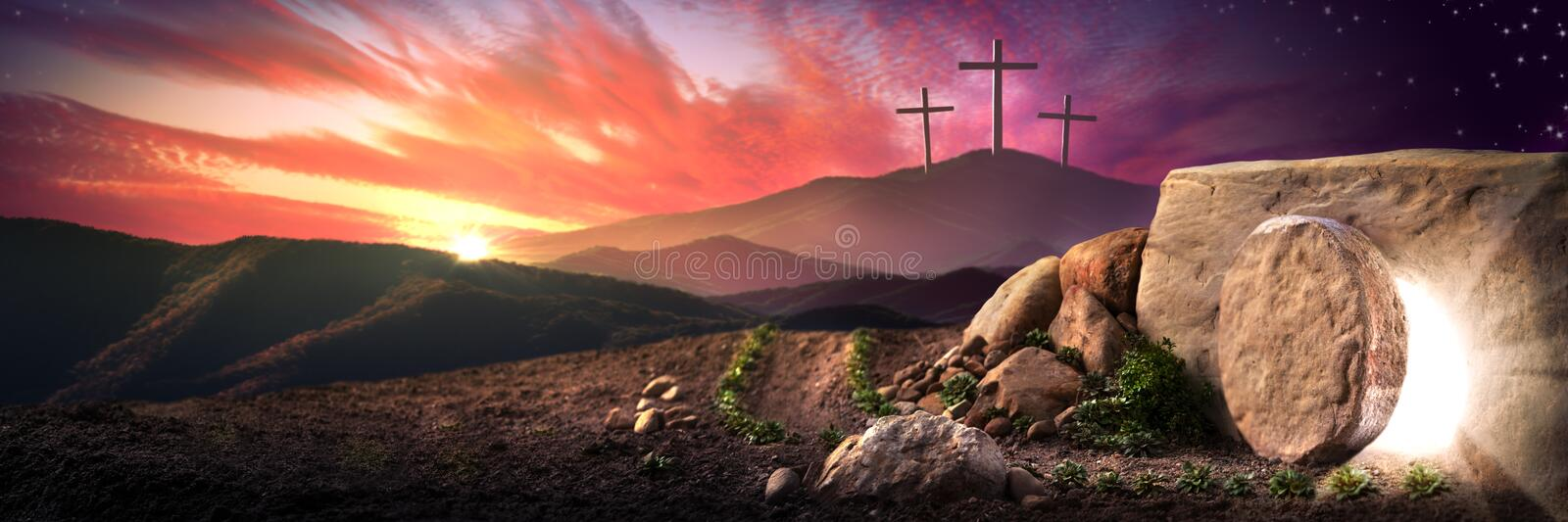 The Resurrection Day. Empty Tomb Of Jesus Christ At Sunrise With Three Crosses In The Distance - Resurrection Concept royalty free stock photography