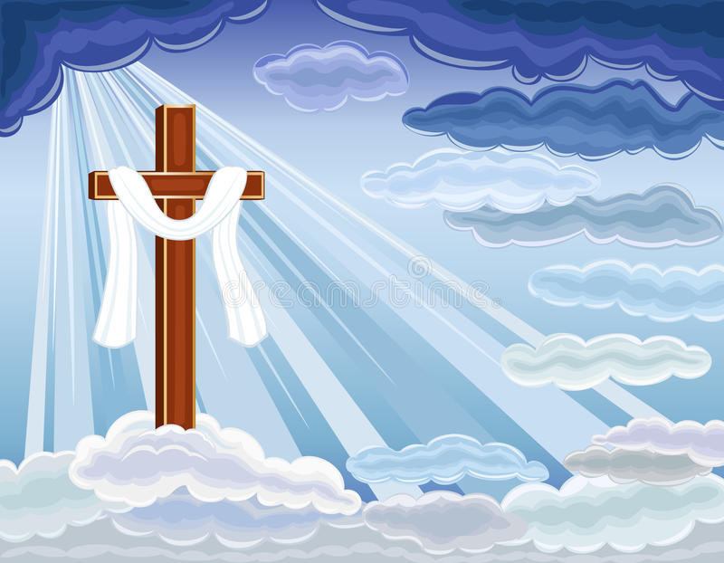 Resurrection of Jesus. Easter religious card with the resurrection of hope and golden cross. Over blue sky. Vector file saved as EPS AI8, all elements layered vector illustration