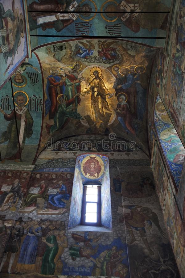The Resurrection of Jesus Christ. Frescoes of the Dormition Cathedral - Holy Trinity - St. Sergius Lavra in Sergiyrv Posad royalty free stock images