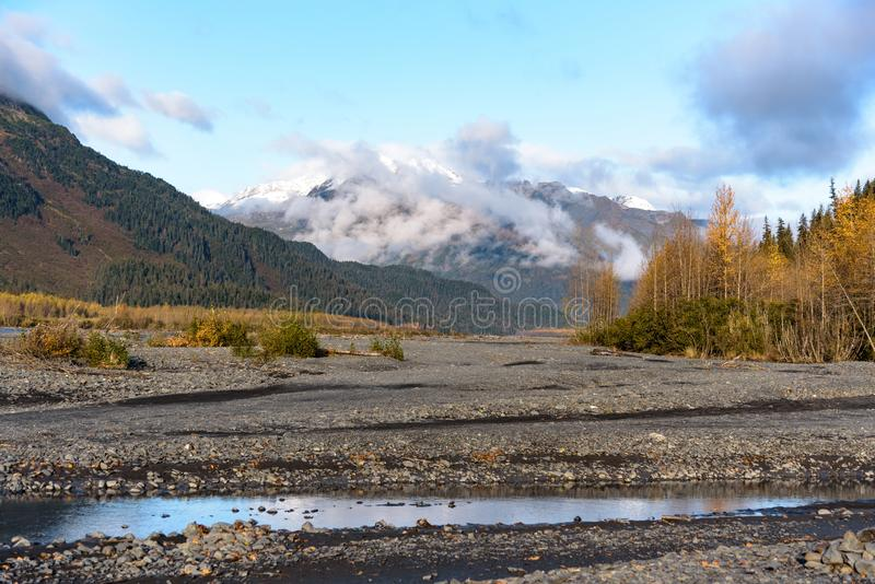 Resurrection River Bed, Exit Glacier, Kenai Fjords National Park, Seward, Alaska, United States.  royalty free stock photos
