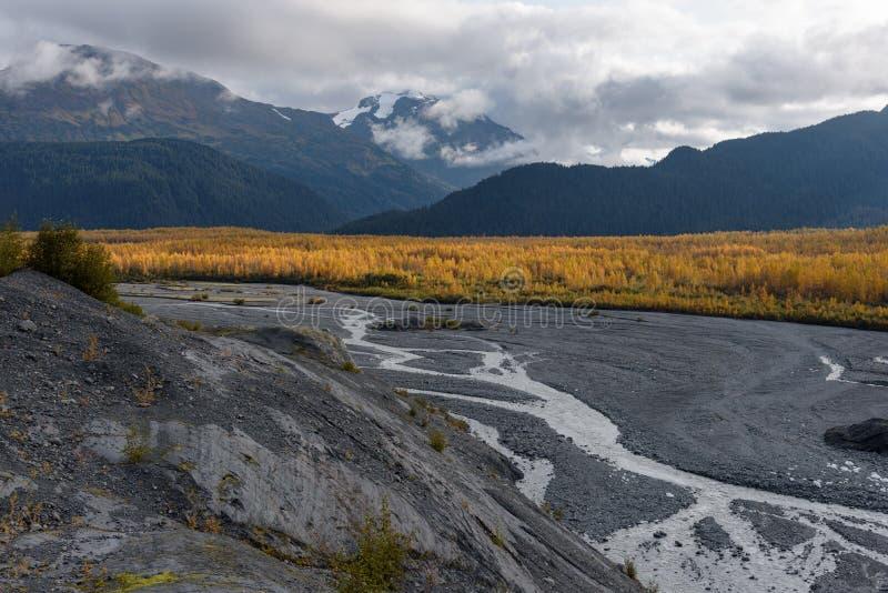 Resurrection River at Exit Glacier, Harding Icefield, Kenai Fjords National Park, Seward, Alaska, United States.  royalty free stock photography