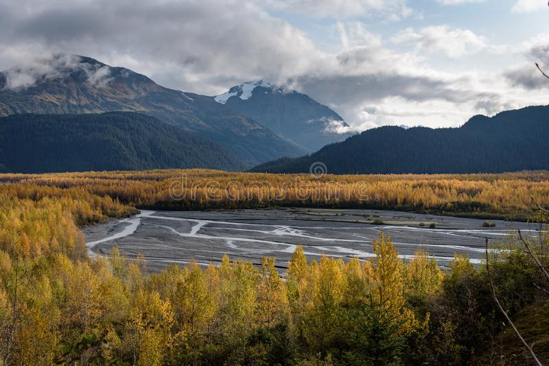Resurrection River Valley at Exit Glacier, Kenai Fjords National Park, Seward, Alaska, United States.  stock images