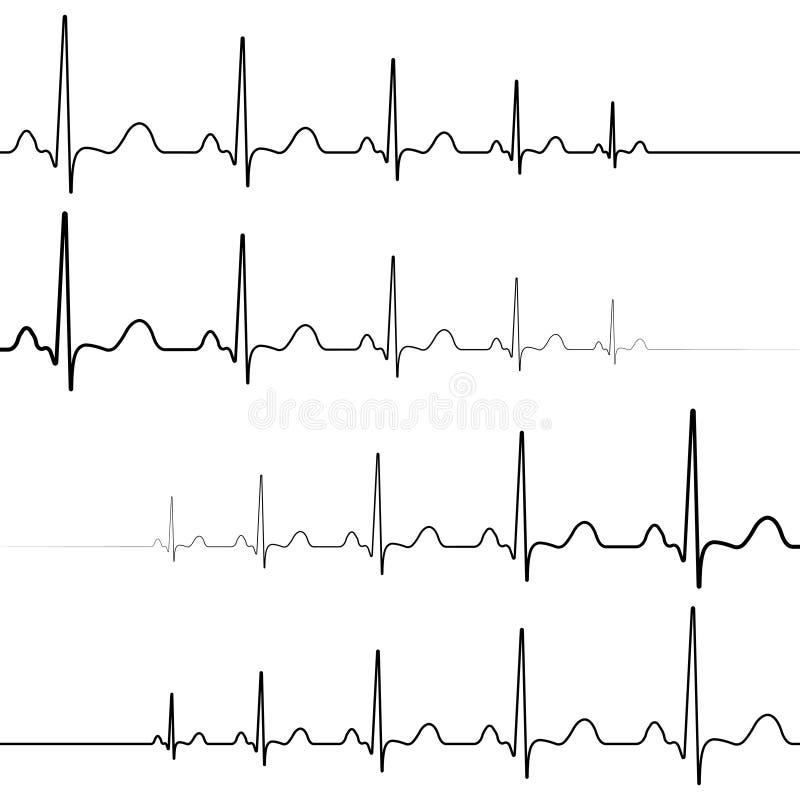 Resurrezione di morte di simbolo delle icone, vettore, attenuazione di battito cardiaco di simbolo e ripresa stabiliti dei battit illustrazione di stock