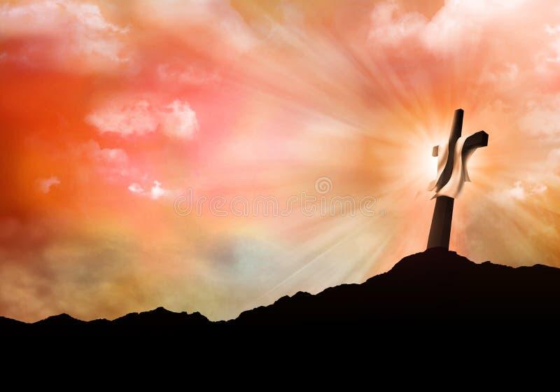 Resurrezione o crocifissione Concetto di Christian Easter Paesaggio con l'incrocio al tramonto con i raggi di luce illustrazione  illustrazione di stock