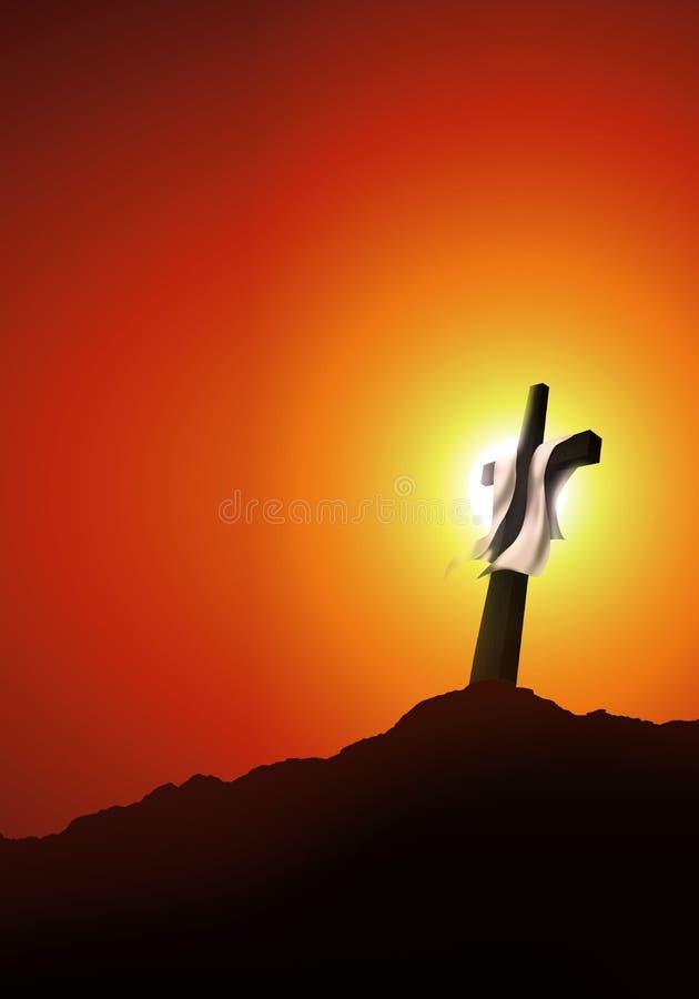 Resurrezione o crocifissione Concetto di Christian Easter Paesaggio con l'incrocio al tramonto illustrazione 3D illustrazione vettoriale
