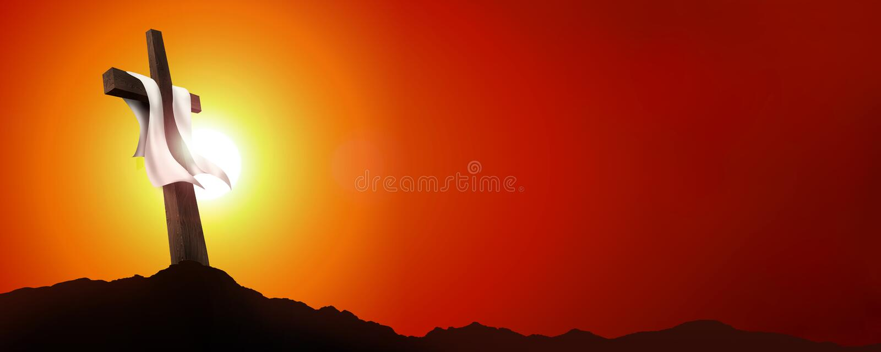 Resurrezione o crocifissione dell'insegna di web Paesaggio vuoto con l'incrocio al tramonto Concetto di Christian Easter illustra illustrazione di stock