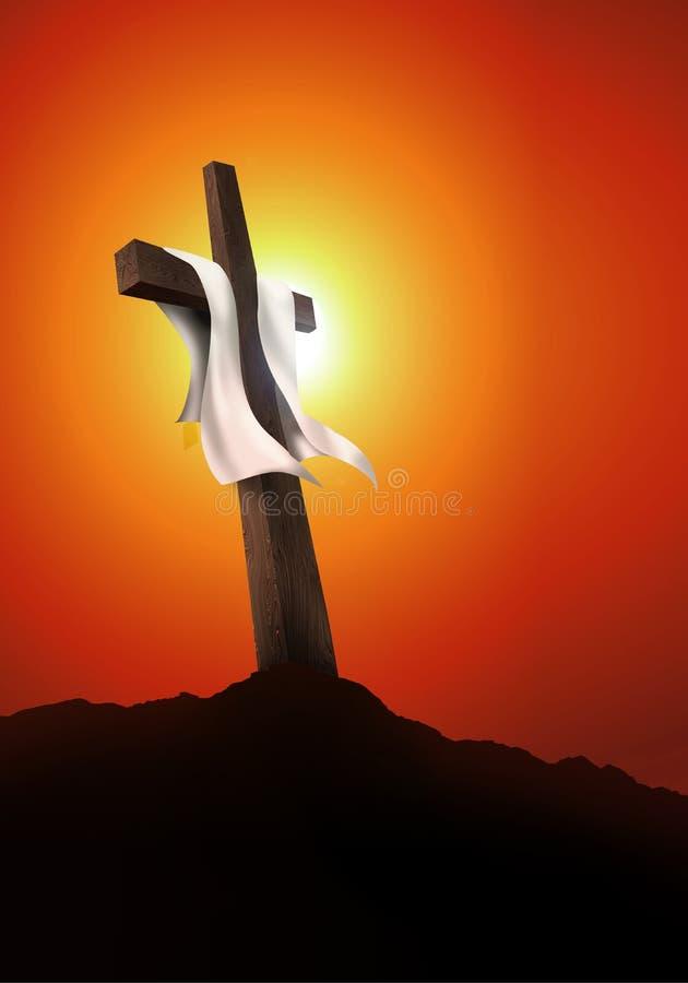 Resurrezione o crocifissione Paesaggio vuoto con l'incrocio al tramonto Concetto di Christian Easter illustrazione 3D illustrazione vettoriale