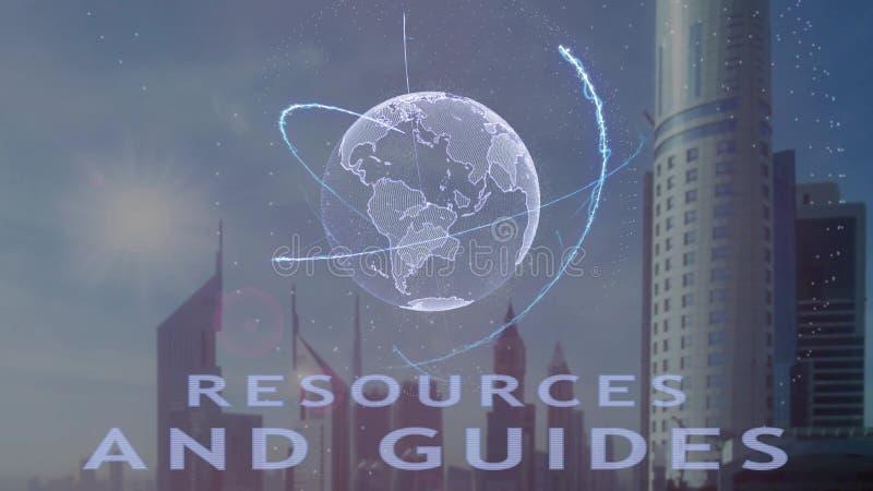 Resurser och handb?cker smsar med hologrammet 3d av planetjorden mot bakgrunden av den moderna metropolisen stock illustrationer