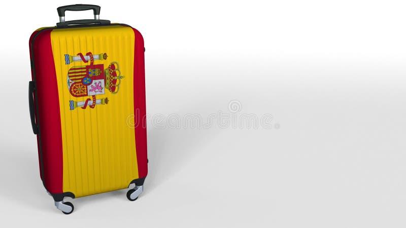 Resväska för handelsresande` som s presenterar flaggan av Spanien Begreppsmässig 3D tolkning för spansk turism, tomt utrymme för  royaltyfri illustrationer